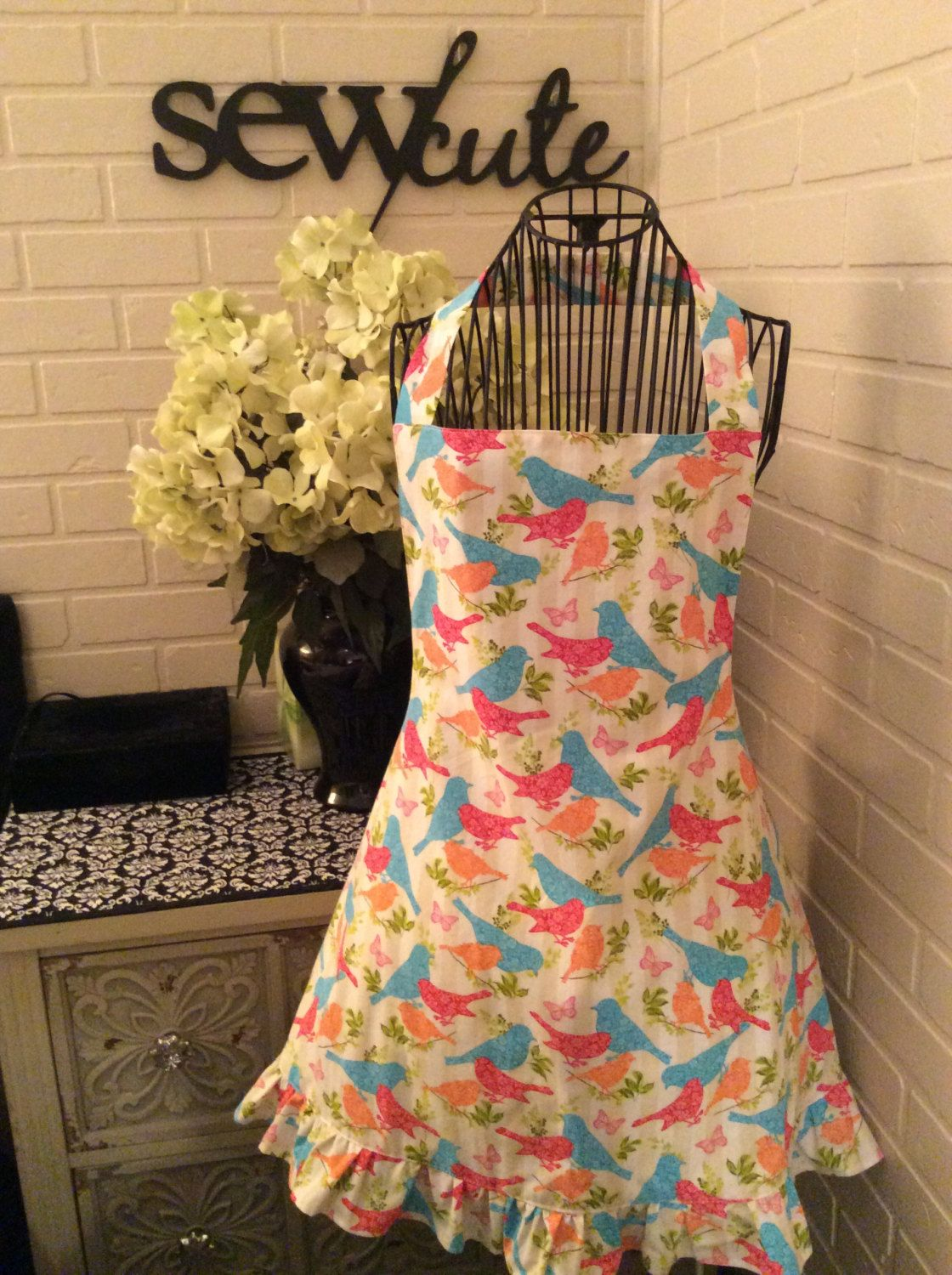 Fully lined adult bird apron by Sewcutesewing1 on Etsy