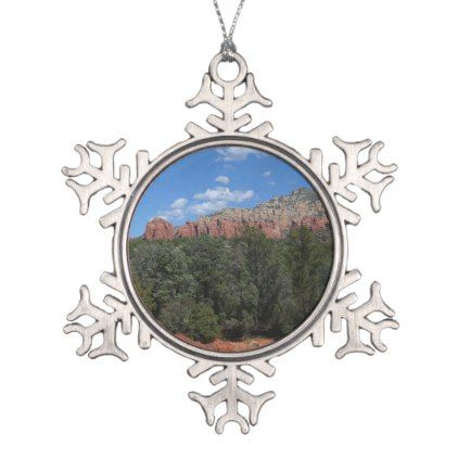 Panorama of Red Rocks in Sedona Arizona Snowflake Pewter Christmas
