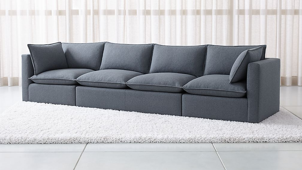 Extra Long Curved Sofa In Grey Velvet With Throw Pillows 3 695