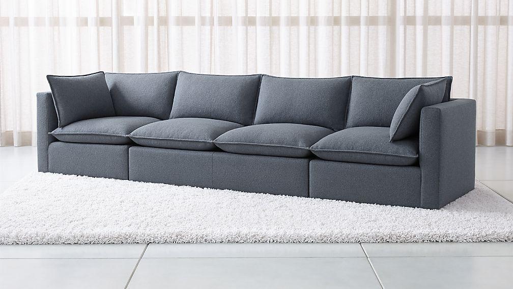 Lotus Petite Modular 3 Piece Extra Long Low Sofa Sectional