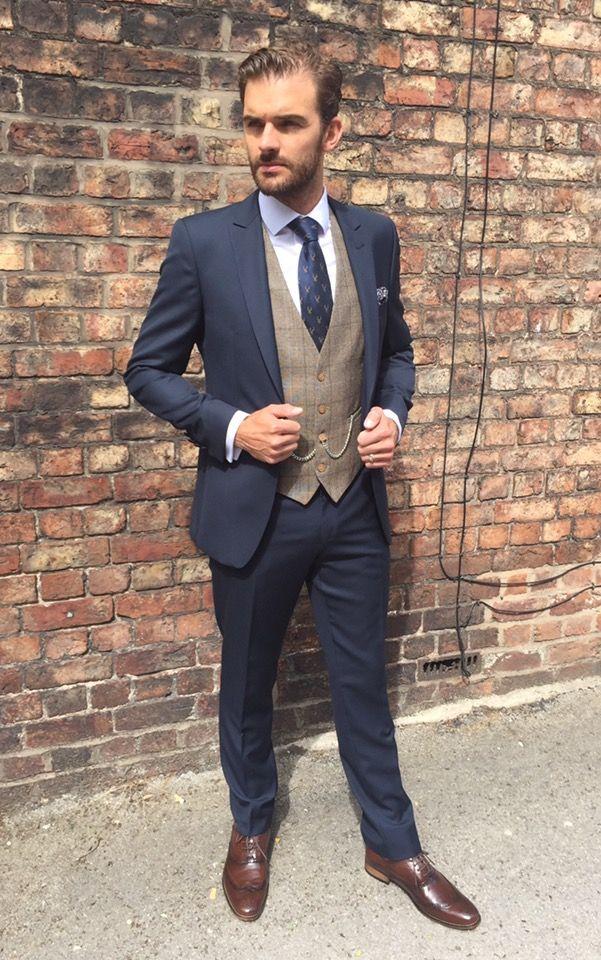 Brown Tweed Waistcoat Navy Suit Wedding Suit Hire Wedding Suits