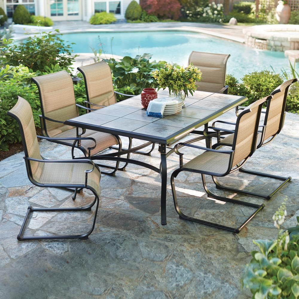 Hampton Bay Belleville 7 Piece Padded Sling Outdoor Dining Set Fcs80198cst The Home Depot Patio Outdoor Patio Furniture Outdoor Patio Furniture Sets