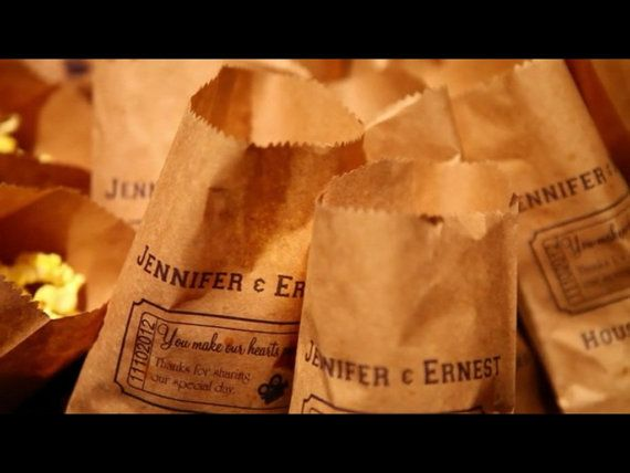 25 Custom Movie Ticket Popcorn Bag Candy Bag Wedding by PaperFever, $16.50