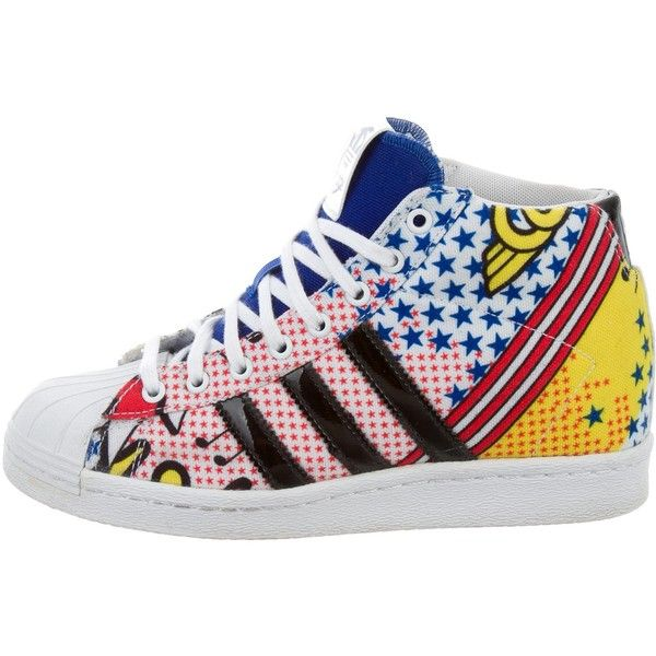 hot sale online ce627 aee32 Pre-owned Rita Ora x Adidas Comic-Printed Superstar Sneakers (150) ❤ liked  on Polyvore featuring shoes, sneakers, blue, canvas sneakers, lace up  sneakers, ...