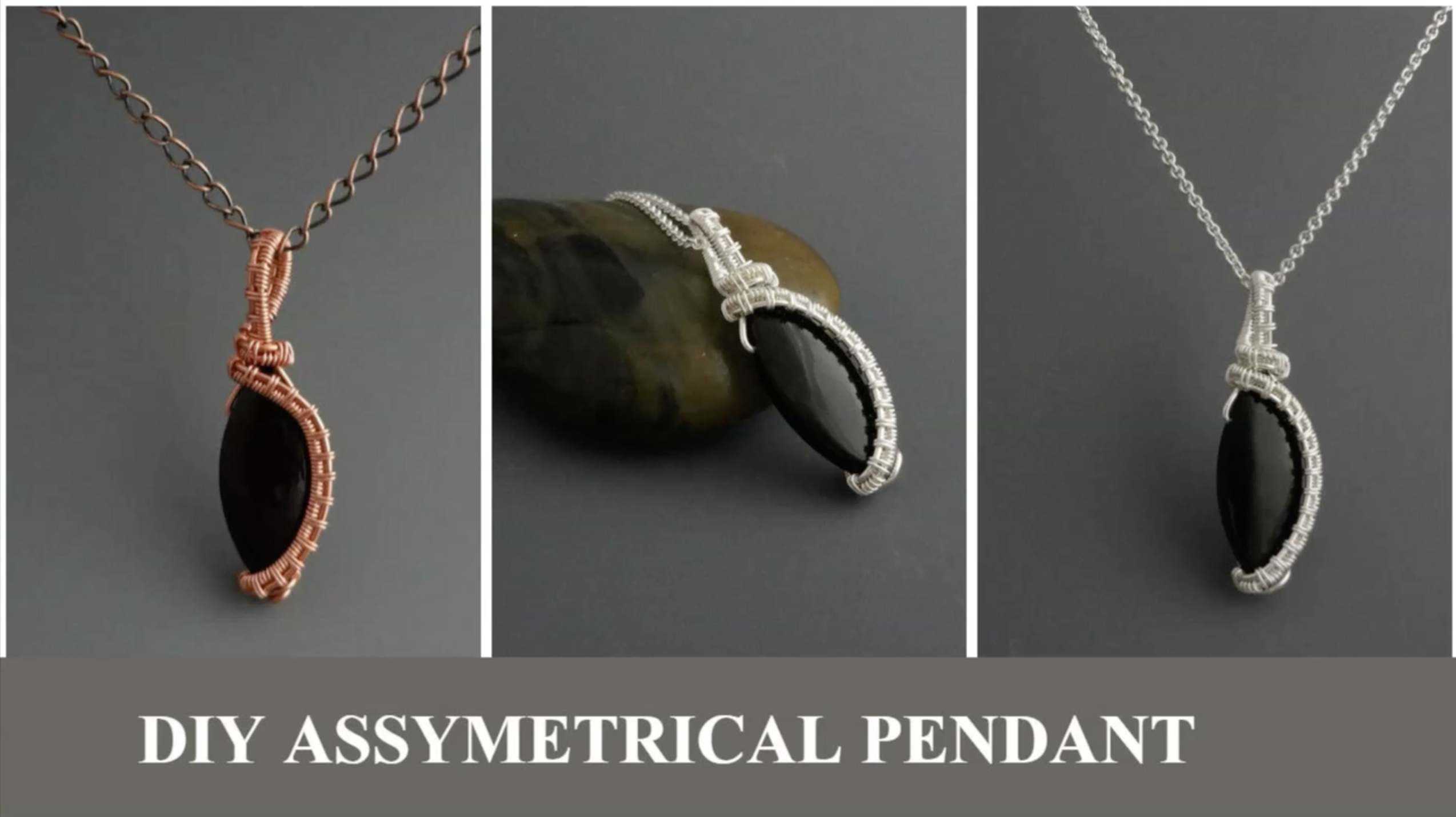 An elegant, easy to make asymmetrical pendant using only a bead and ...
