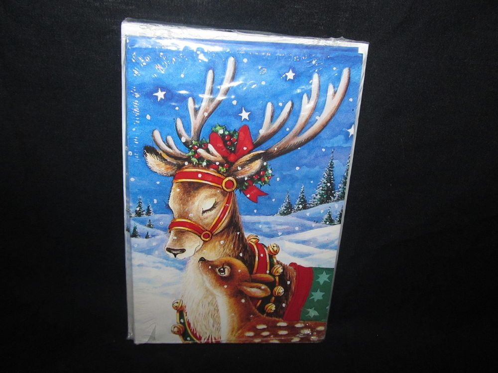Holiday Time Christmas Cards 12 Reindeer On Snowy Night Blue Background Sealed