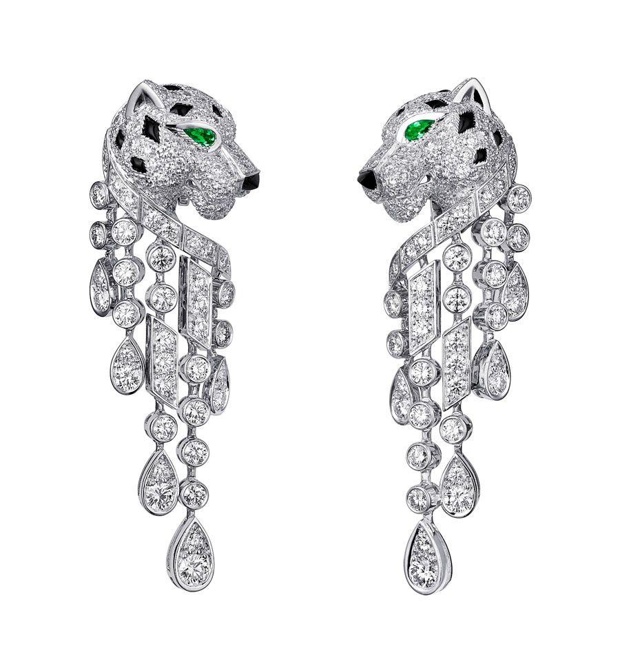Panthère De Cartier Earrings Platinum Emerald Eyes Onyx Nose Diamonds Photo Vincent Wulveryck 2017