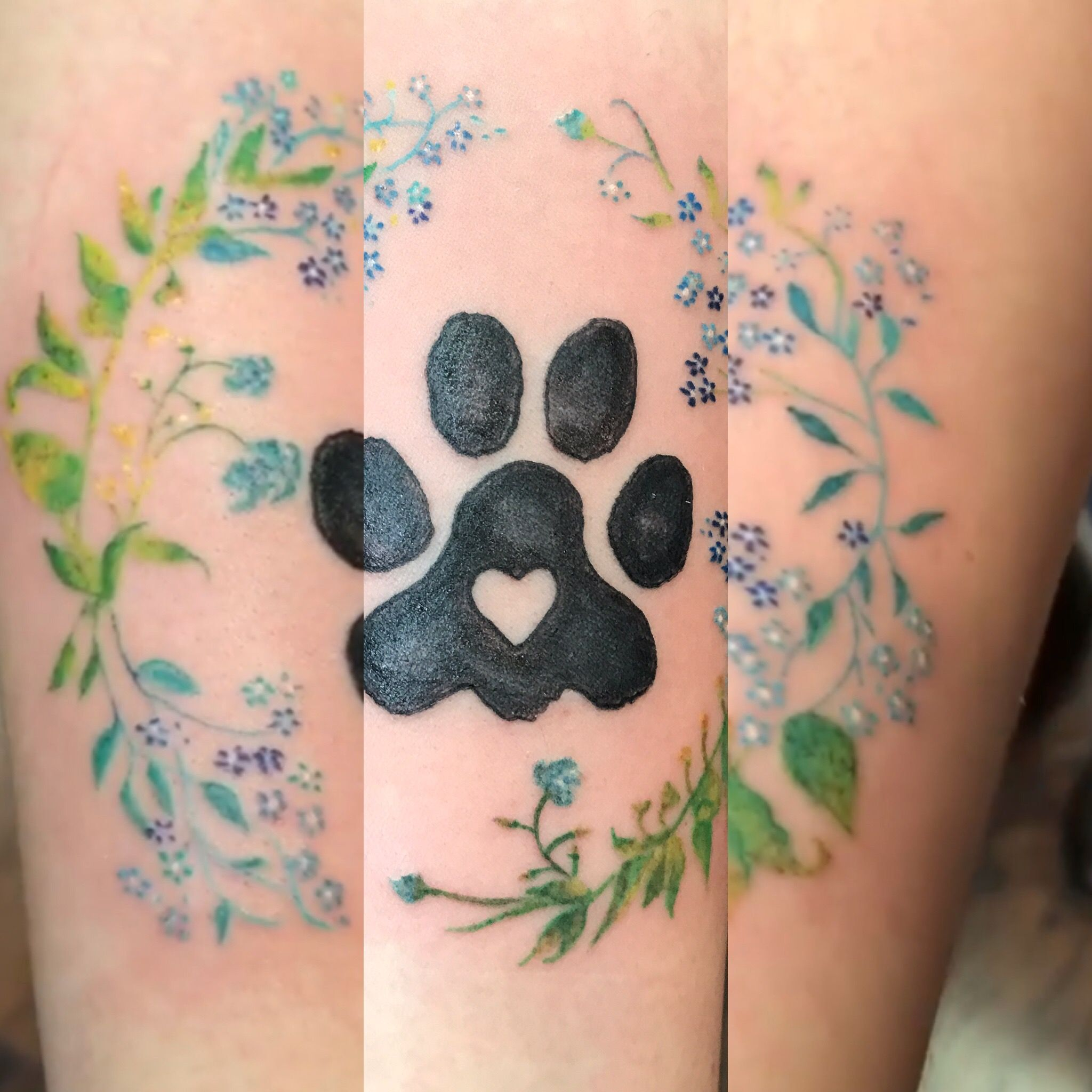 Paw Print Tattoos With Flowers: Petite Delicate Flowers With Paw Print Custom Tattoo