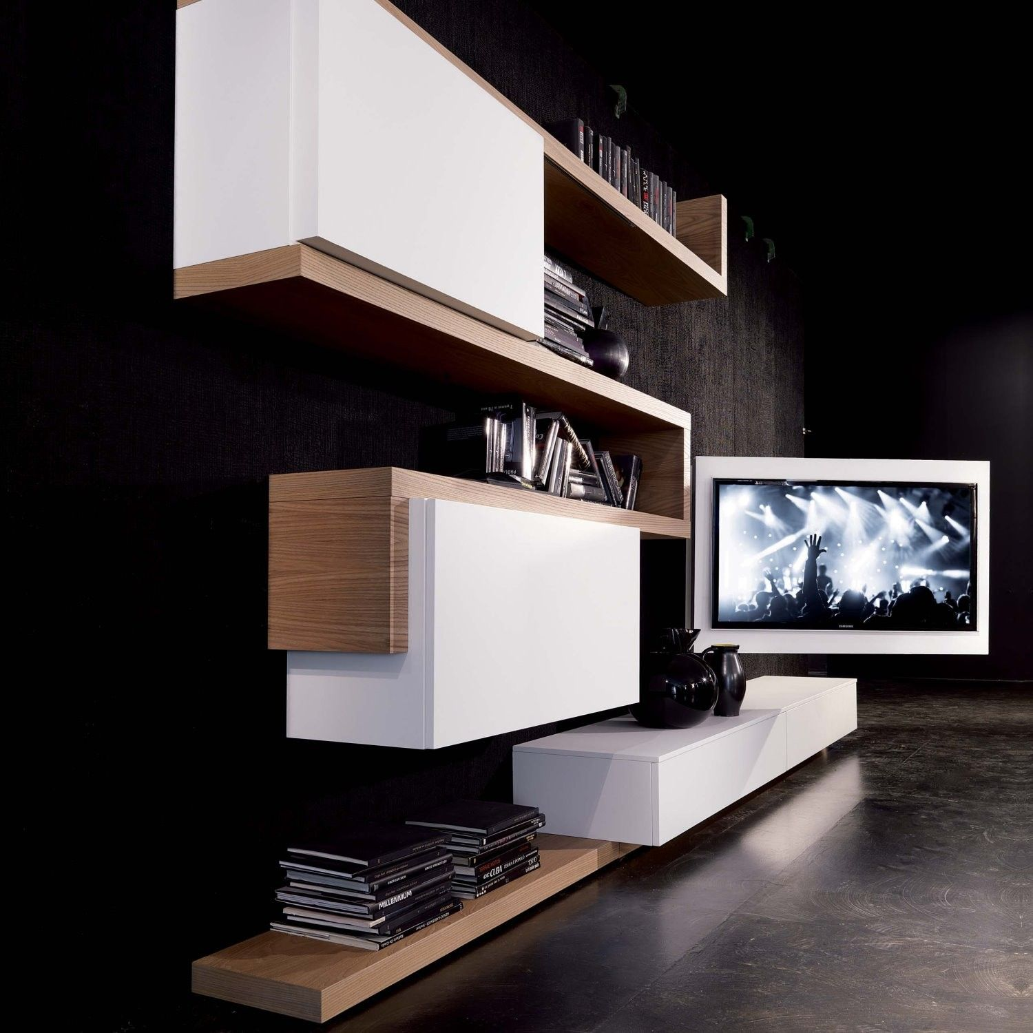 rack tv m bel h ngend schwenkbar und zu ffnen arredaclick wohnzimmer pinterest tv. Black Bedroom Furniture Sets. Home Design Ideas