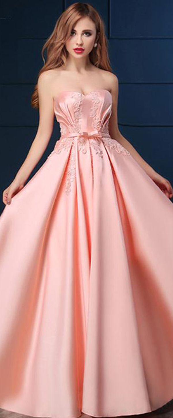 Charming Satin Sweetheart Neckline A-line Floor-length Prom Dresses ...