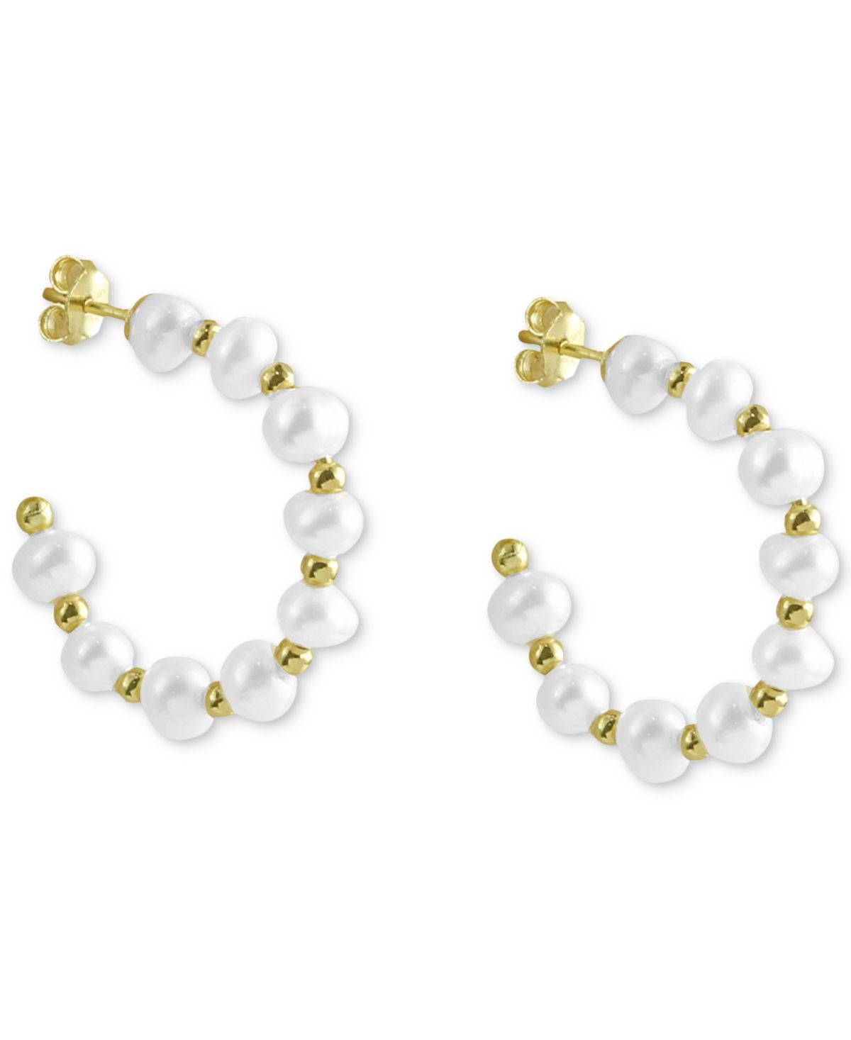 The soft glow of cultured freshwater pearls puts a feminine edge on these cultured freshwater pearl c-hoop earrings from Argento Vivo.