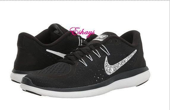 Crystallized Glitter Black White Nike Flex RN 2017  a9159a0211de