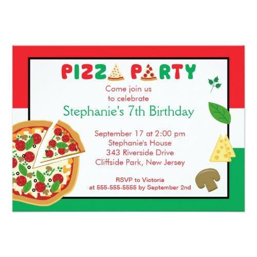 kids pizza party birthday party invitation   pizza birthday party, Party invitations