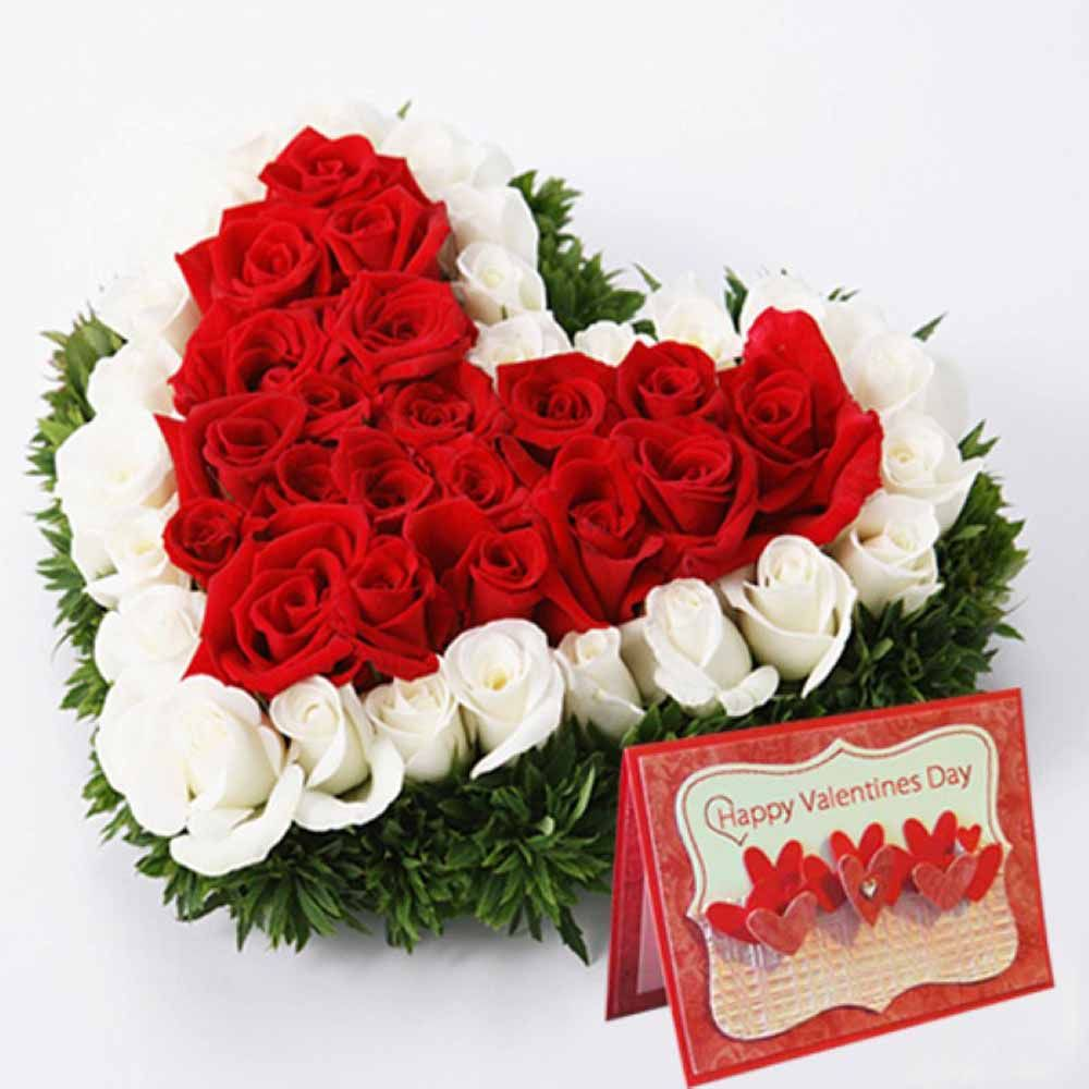 Red and white roses heart with valentine greeting card send red and white roses heart with valentine greeting card send valentine roses to india kristyandbryce Choice Image