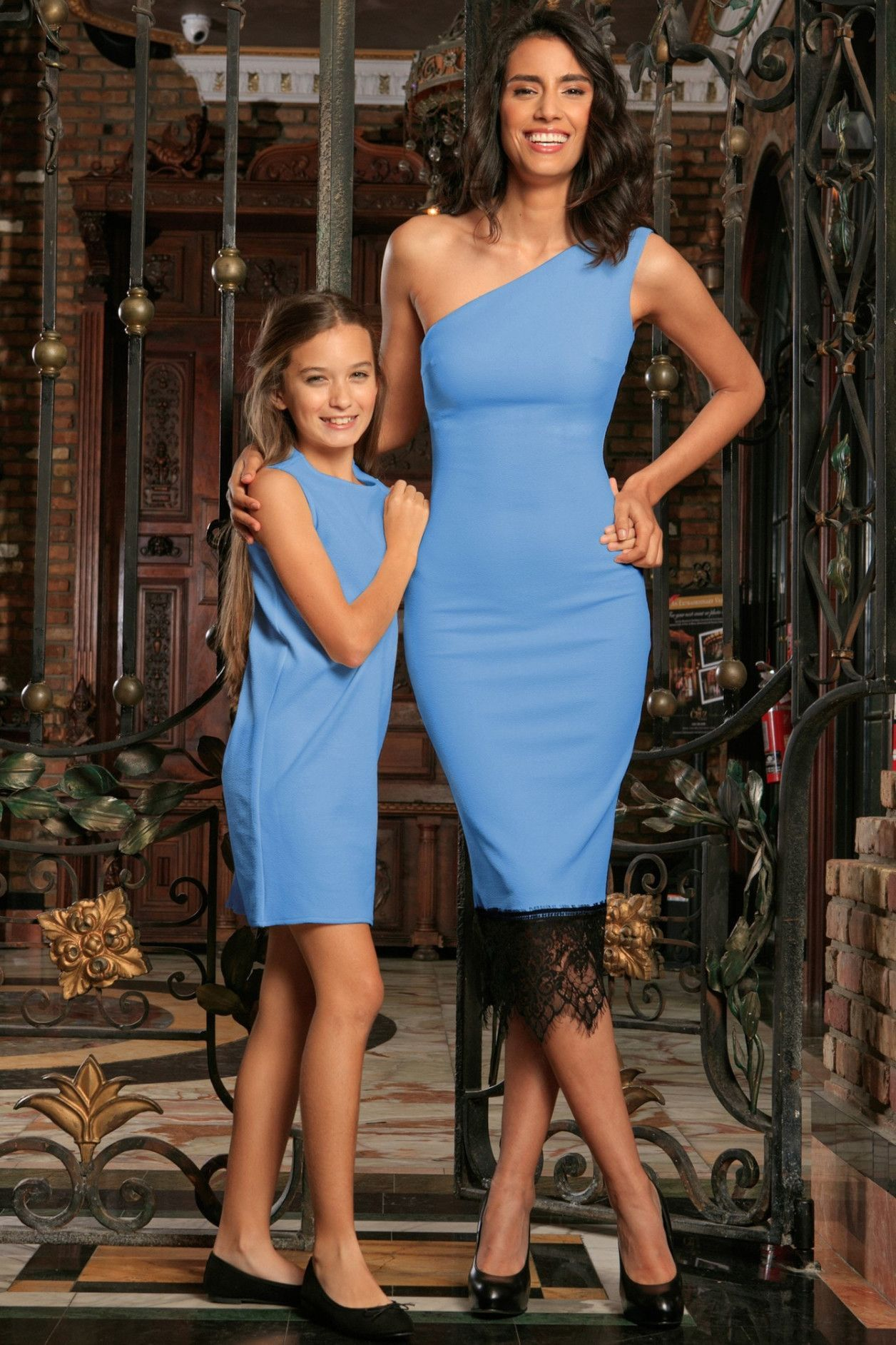 c0259ac45f5 Sky Blue Stretchy Trendy Summer Party Mommy and Me Matching Dresses ...