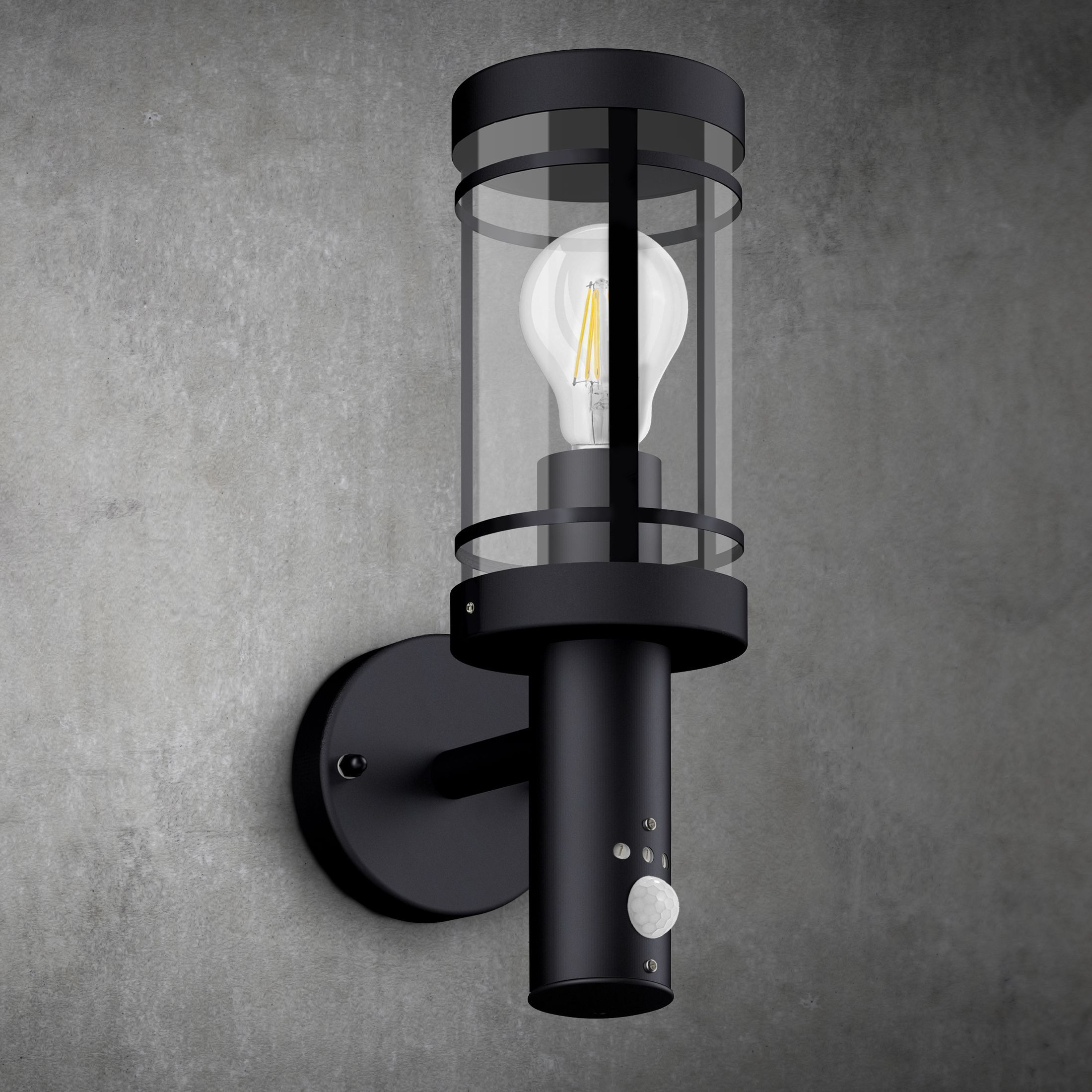 Aussen Wandlaterne Movi Mit Bewegungsmelder Ip44 Schwarz Inkl Osram Led E27 6w Warmweiss In 2020 Wall Lights Light Lighting