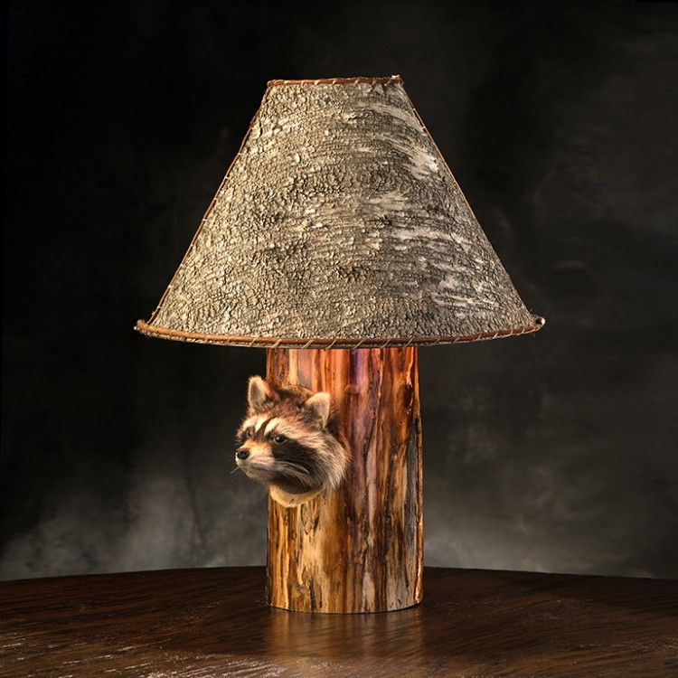peekaboo raccoon table lamp in aspen log with birch bark lampshade great display along with - Rustic Table Lamps