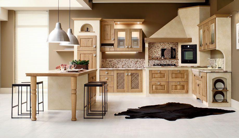 Cucina in muratura con ante in massello di rovere tinto for Cucine classiche con isola