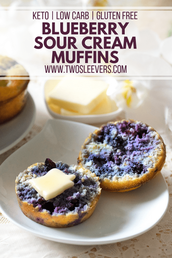Keto Blueberry Sour Cream Muffins | Only 5 gms net carbs!