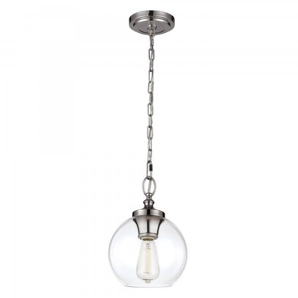 Tabby Mini Chain Hanging Pendant With Clear Glass Shade Polished Nickel Suspension Mini Pendant Hanging