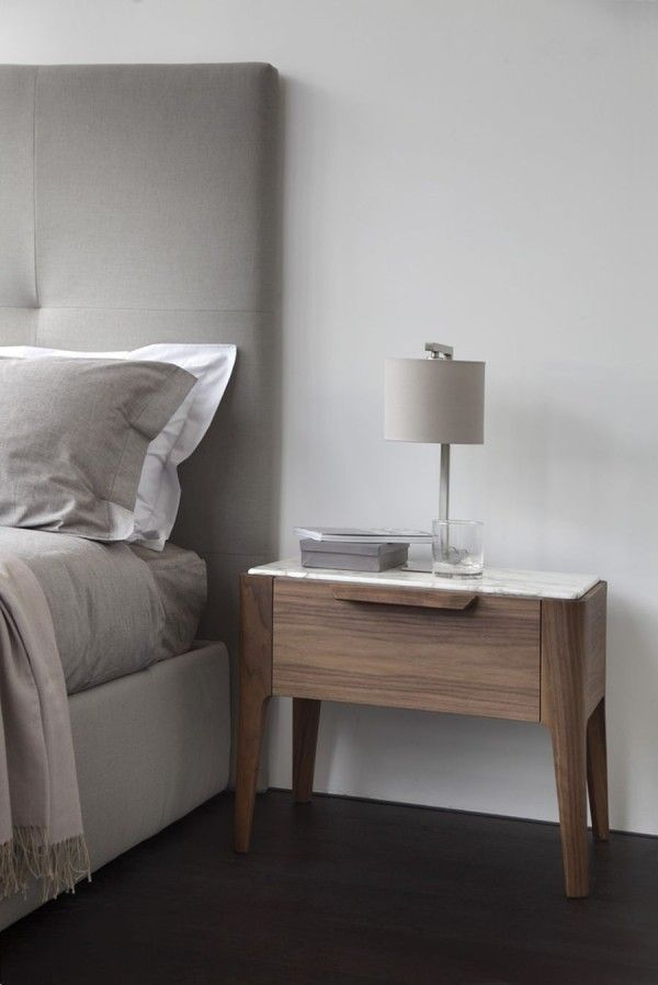 Marble Top Of Wooden Nightstand Ziggy Decoist Modern Bedside