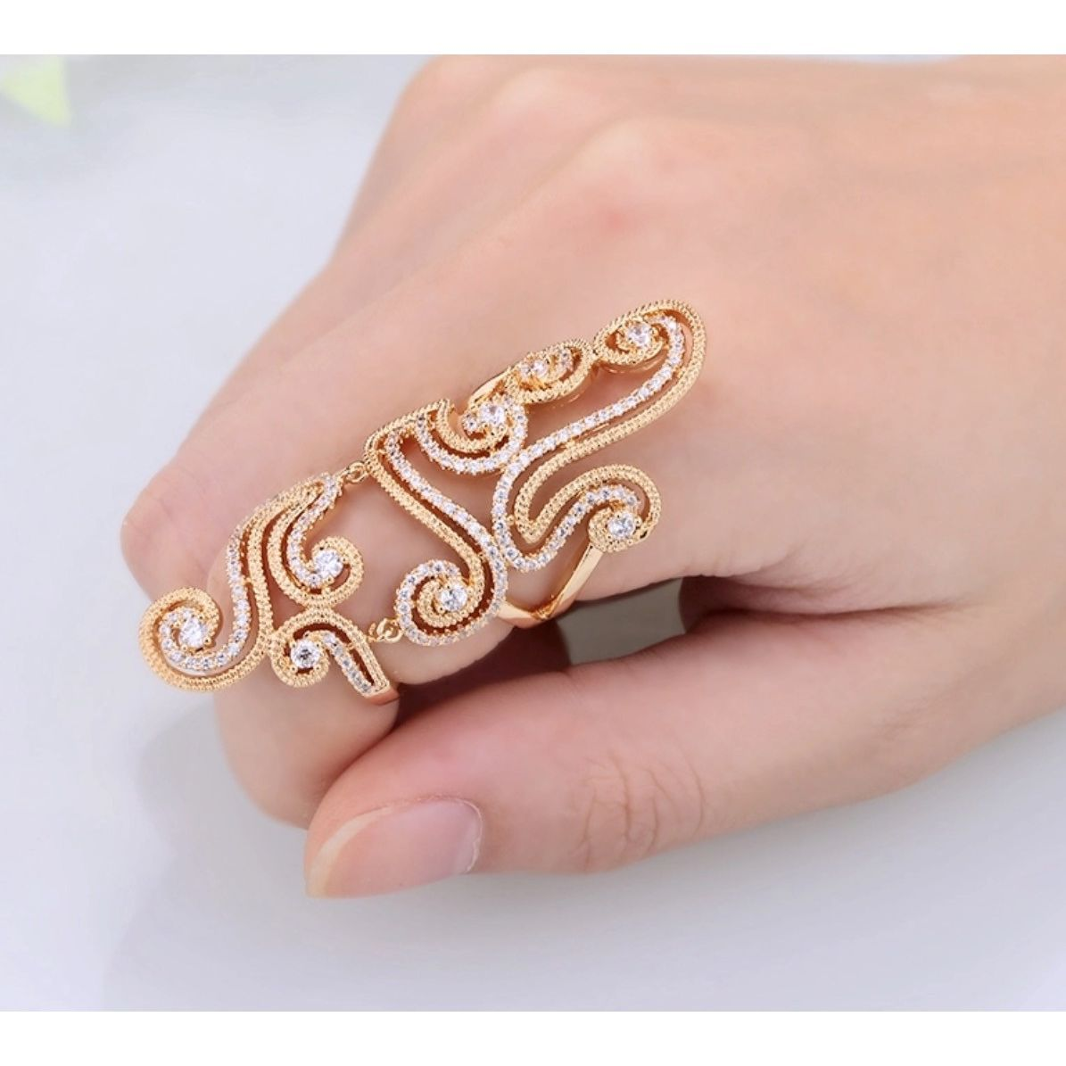 Gold Swirl Full Finger Ring | Products | Pinterest | Products