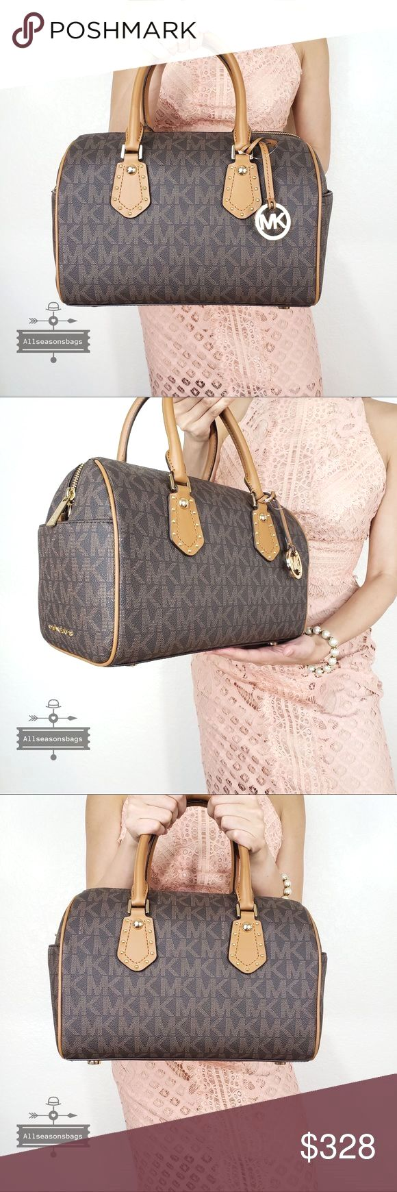 b950aecd4c29 NWT Michael Kors aria medium satchel brown acorn 100% Authentic Michael  Kors ARIA MD MONOGRAM SIGNATURE STUDDED SATCHEL HANDBAG in navy white Style  ...
