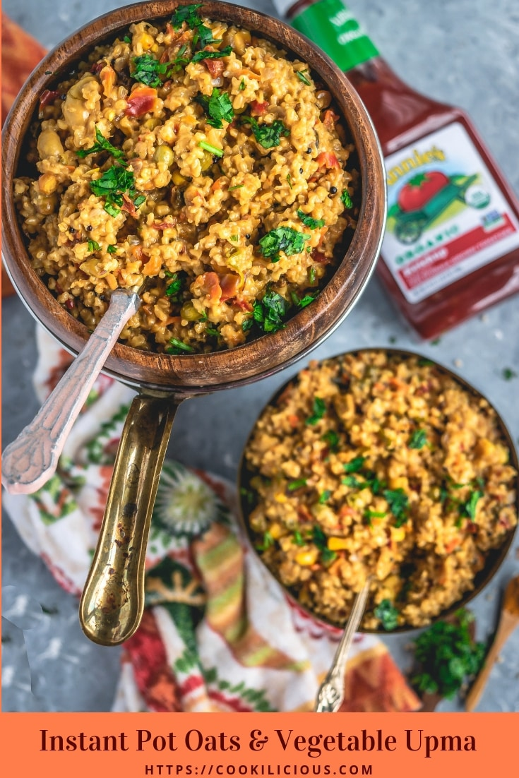 Oats & Vegetable Upma is a nourishing & healthy Indian breakfast recipe, made in an Instant Pot. Loaded with veggies, this soft oats upma is very delicious. #oats #upma #porridge #steelcutoats #breakfast #savory #instantpot #pressurecooker #oatsupma #vegetable #Indian #healthy #snack #lowcarb #vegetarian #iHerb #ad