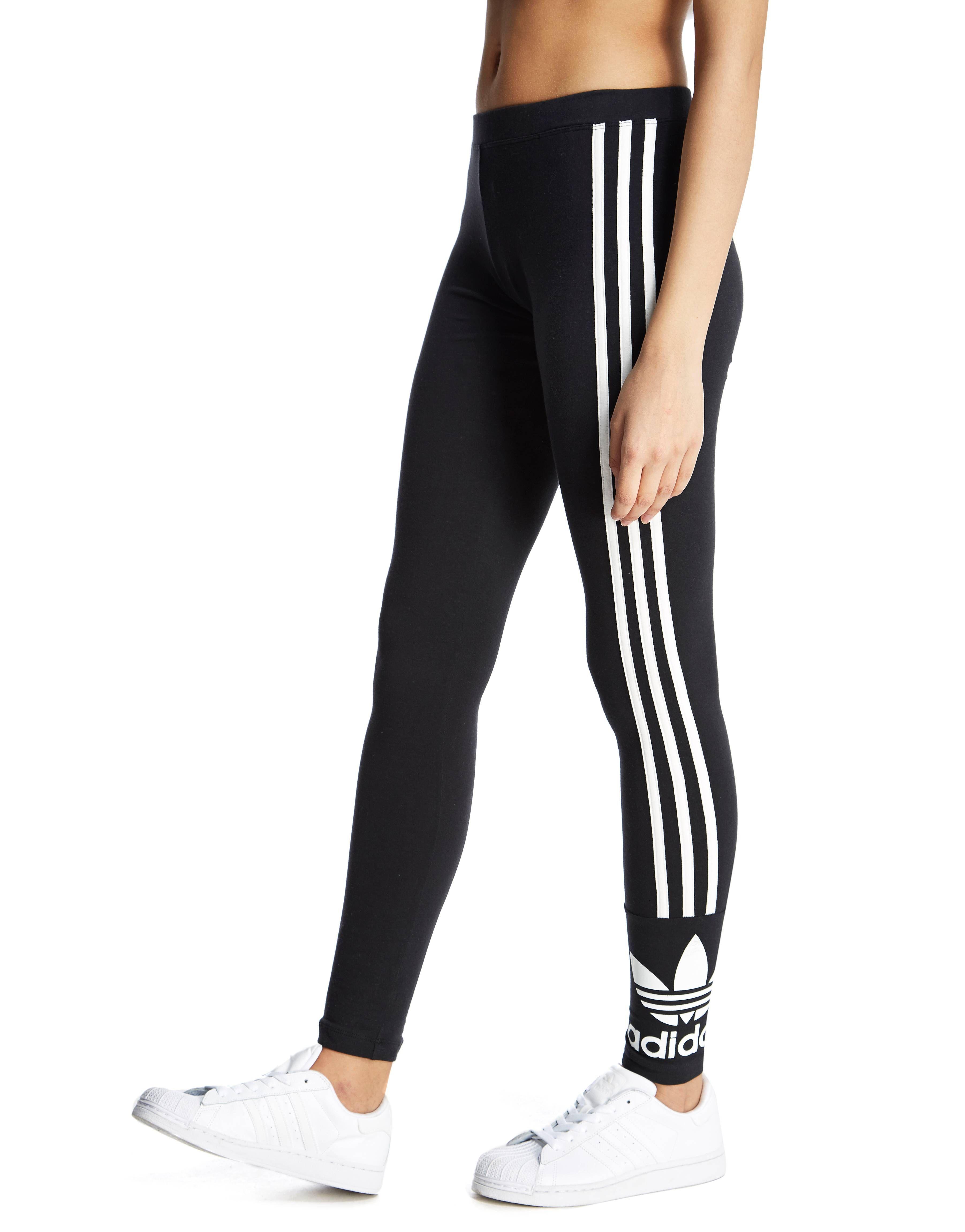 Adidas Originals 3 Stripe Trefoil Leggings Jd Sports Sverige Black Cotton Leggings Black Legging Pants Adidas Leggings