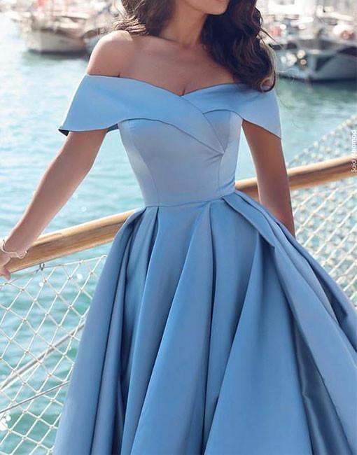 17b9ad0b69 Sexy light blue satin prom dress,off shoulder long prom dress,blue evening  dress