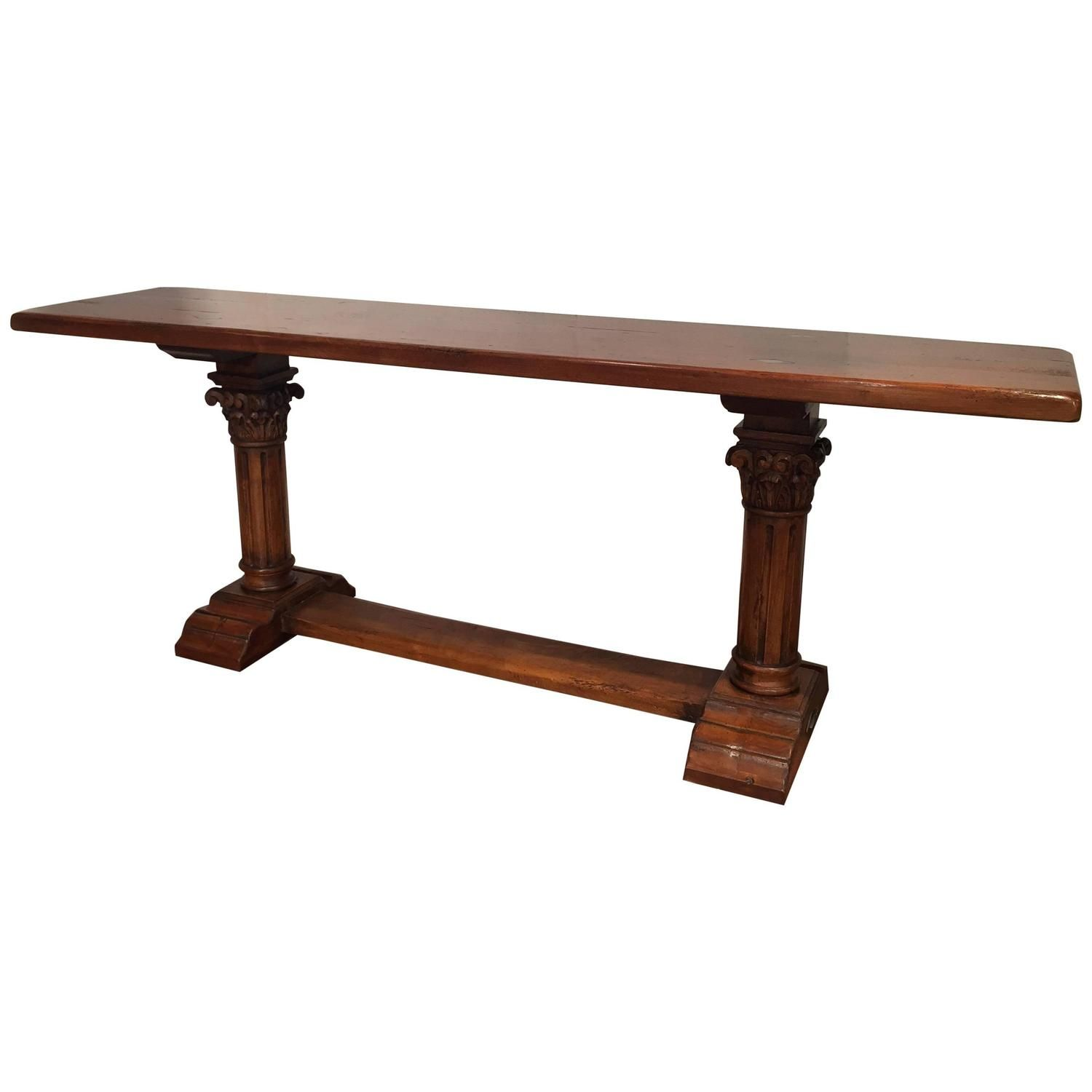 French walnut console table with two hand carved pedestal legs and louis xiv walnut sofa table with hand carved legs and stretcher geotapseo Images