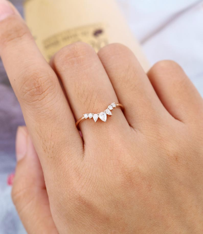 Curved wedding band Rose gold Pear shaped Moissanite ring vintage Unique Stacking ring women Matching band Promise Anniversary gift for her