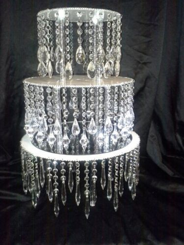 Acrylic crystal chandelier wedding cake stand 75 tall and 6 16 display idea diy add acrylic chandelier drops to a cake stand for total bling string with fishing wire aloadofball Images