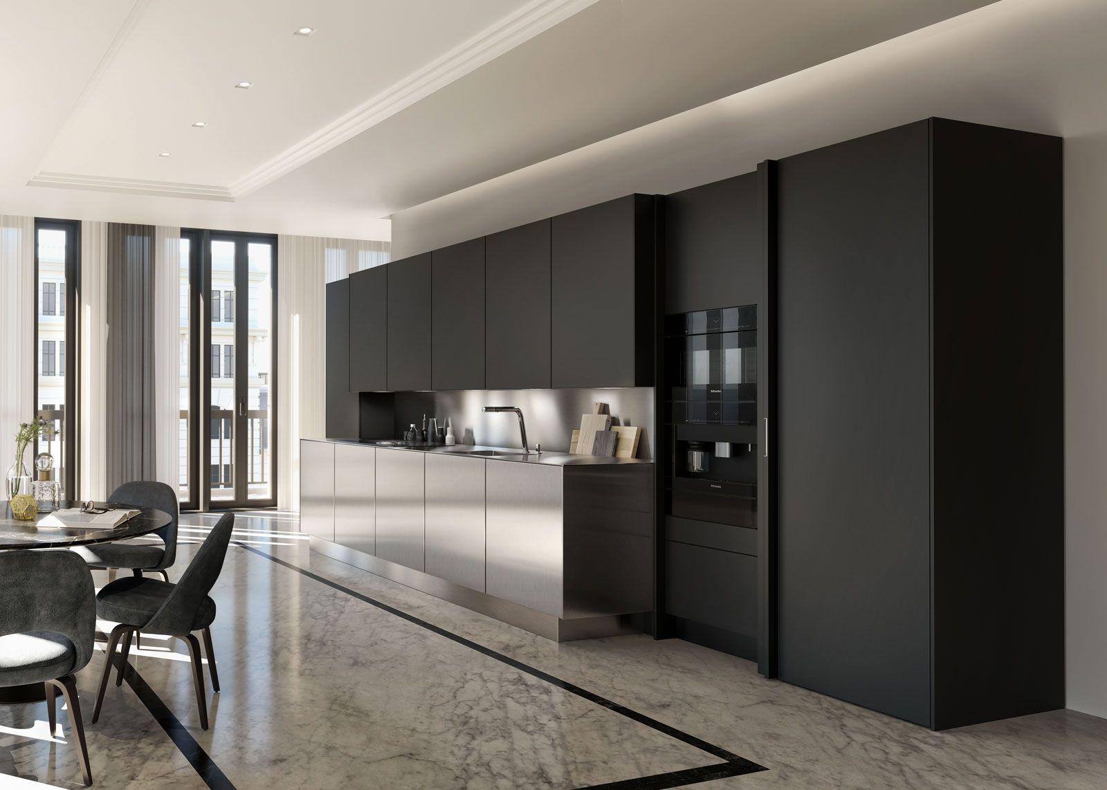 Cuisine noire et inox de luxe #SieMatic #design   Cuisine noire ...