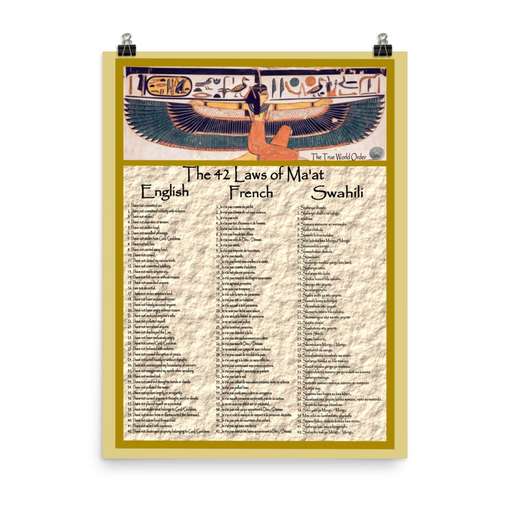 The True World Order 42 Laws Of Ma At In English French Swahili Photo Paper Poster The True World Order 42 Laws Of Ma At In English F Maat Swahili True