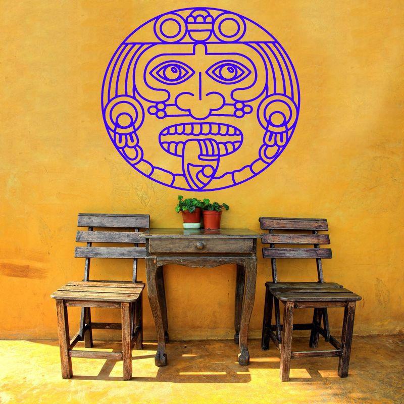 Wall Room Decor Art Vinyl Sticker Mural Decal Aztec God Mandala ...