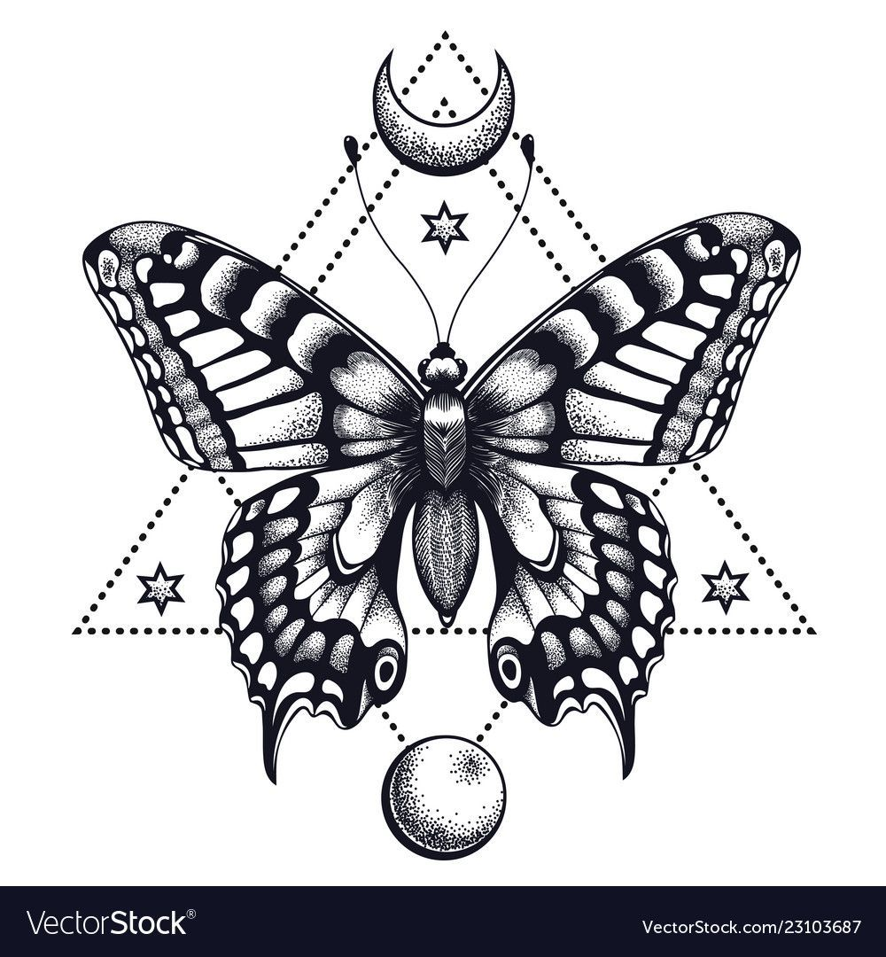 Photo of Papillon dans le triangle, le croissant et la lune. Conception de tatouage. Mystical Sym …