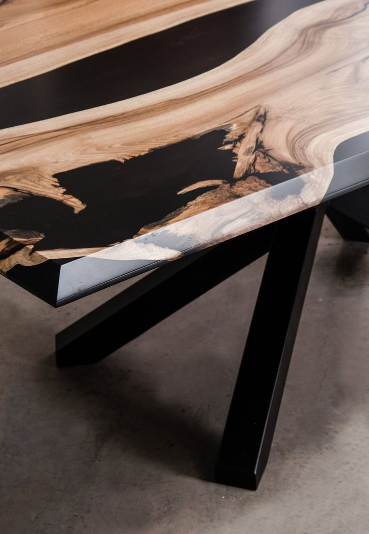 Custom epoxy resin table made of walnut wood and black UV resin contemporary live edge table Custom epoxy resin table made of walnut wood and black UV resin contemporary...