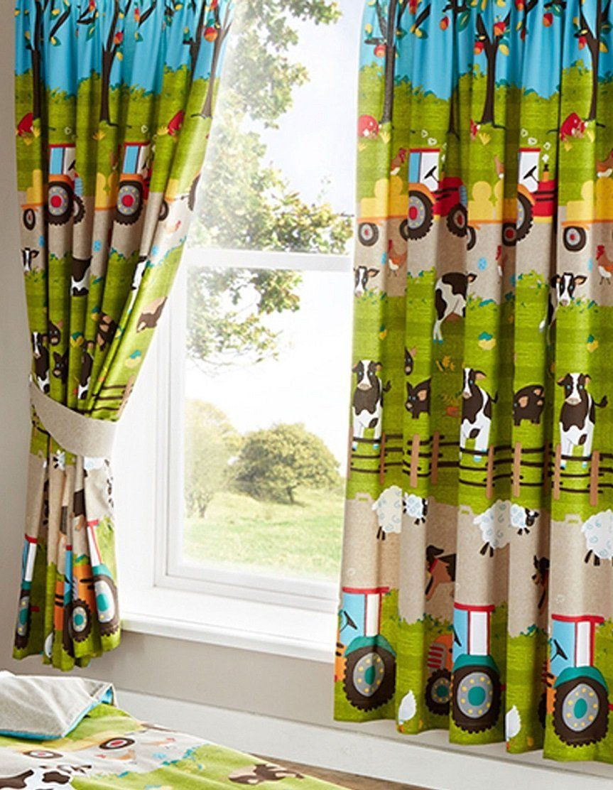 Kids Bedroom Curtains Farm Yard Animal Cow Tractor Fully Lined Bedroom Curtains Set 66