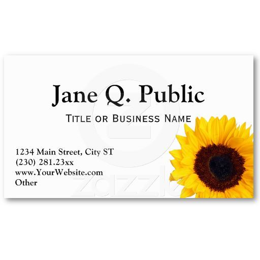 pretty sunflower business card templates