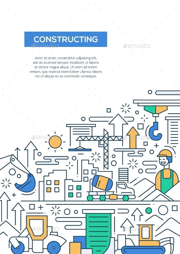 Constructing - Line Design Brochure Poster by decorwm Constructing