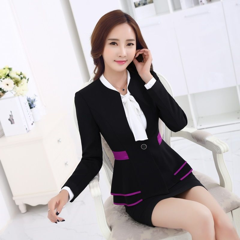 Barato Formal Blazer saias ternos conjuntos ternos jaqueta senhoras  elegantes estilos uniformes salão de beleza escritório OL 1169c038a73f4