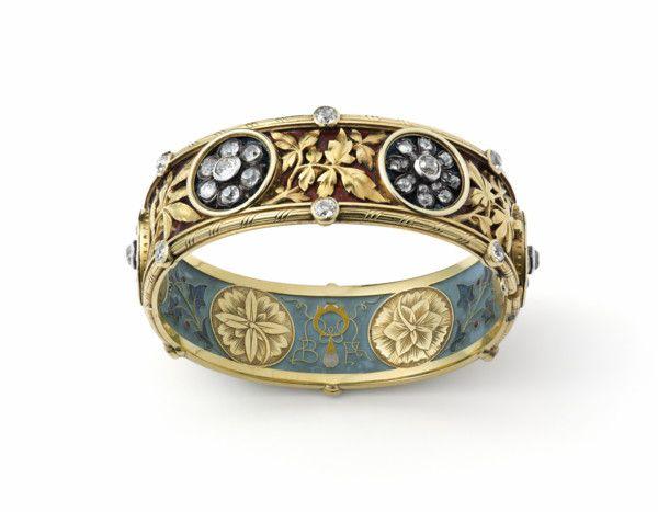 Enamel and diamond bangle bracelet by Bapst and Falize