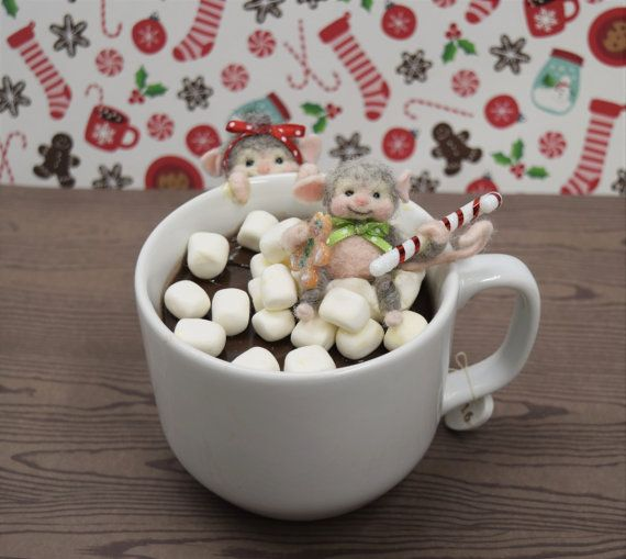 "Needle Felted ""Christmas Mice In Hot Chocolate Mug""...........Free U.S. Shipping Too!"