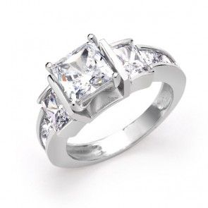 $50 925 Sterling Silver Three Stone Princess Cut CZ Engagement Ring 2ct