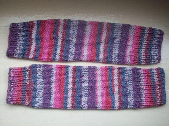 Chunky warm leg warmers multi striped Fair Isle effect knit wool ...