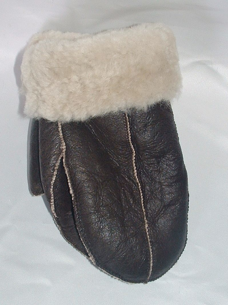 NEW WOMENS size 7.5-L BLACK SHEARLING LAMBSKIN SUEDE LEATHER MITTENS-FUR LINED