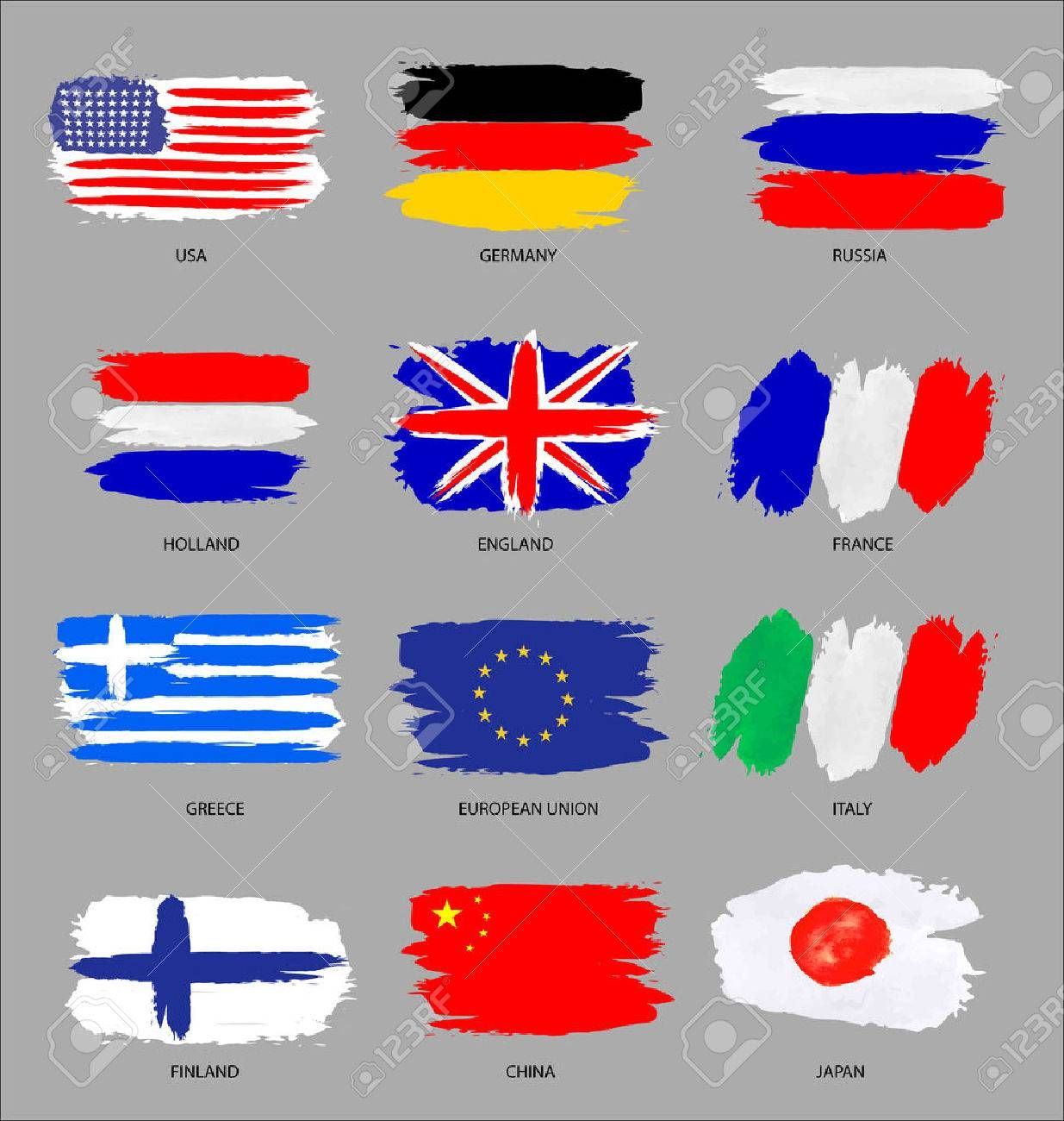 Vector Set Of Painted Flags Stock Photos Photo Painting