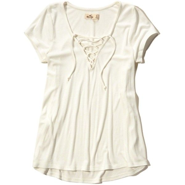 Hollister Must-Have Easy Lace-Up T-Shirt ($20) ❤ liked