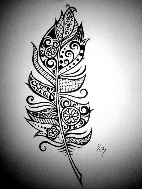 Feather art henna feather drawing custom ink drawing for Simple black and white drawing ideas